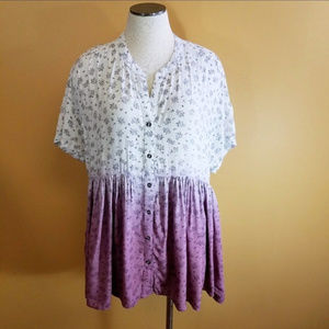ODDY Tops - Women's Floral Boho Ombre ODDY Button Down Blouse